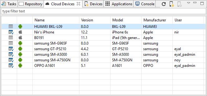 Appium Studio for Eclipse - Cloud Devices view - Experitest